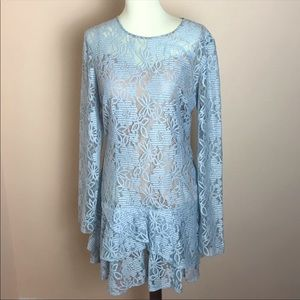 BCBG Blue Lysa Lace Dress